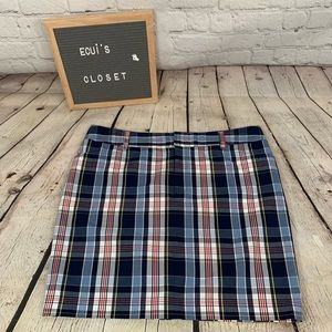 Chaps Women's blue plaid skirt size 14 100% cotton